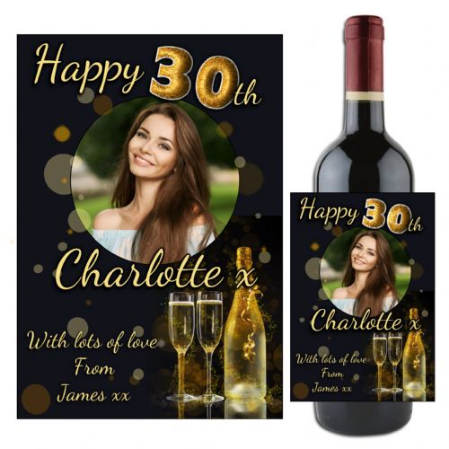 Personalised Gold Glitter Happy Birthday Wine / Champagne Bottle PHOTO Label N99 - Any Age